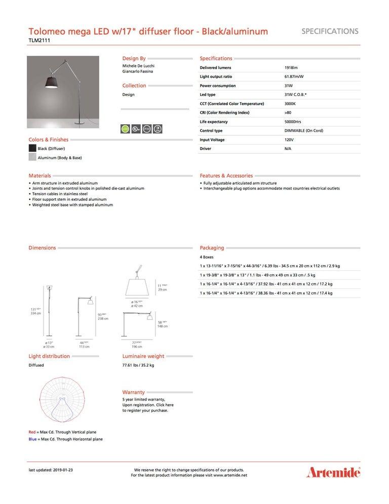 Modern Artemide Tolomeo Mega LED Floor Lamp with Black Diffuser For Sale
