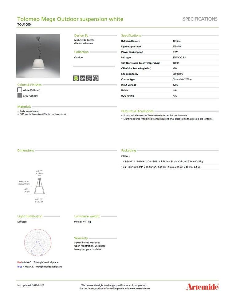 Modern Artemide Tolomeo Mega Outdoor Suspension Light in White For Sale