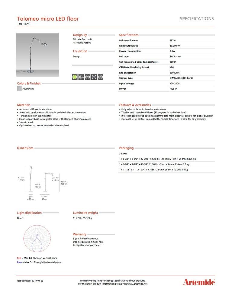 Modern Artemide Tolomeo Micro LED Floor Lamp in Aluminum For Sale