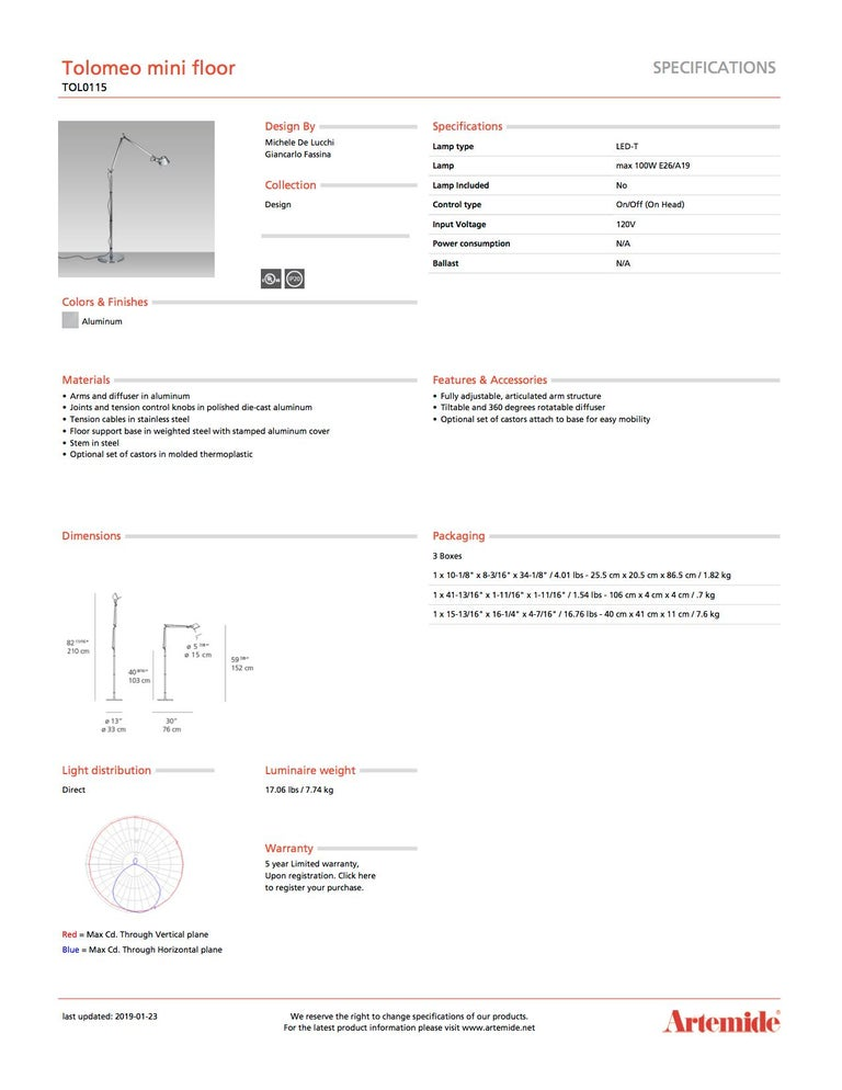 Modern Artemide Tolomeo Mini Floor Lamp in Aluminum with Base For Sale