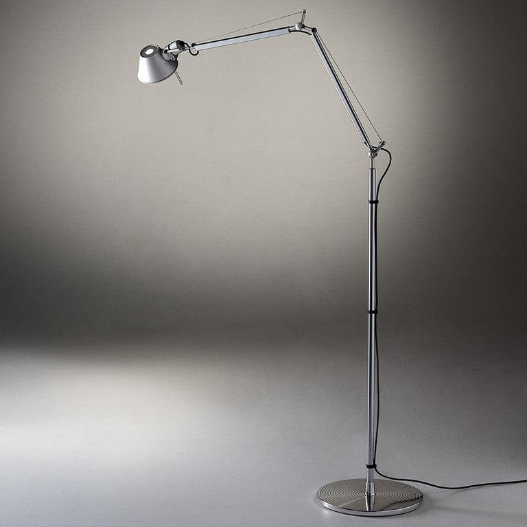 Modern Artemide Tolomeo Mini LED Floor Lamp in Aluminum For Sale