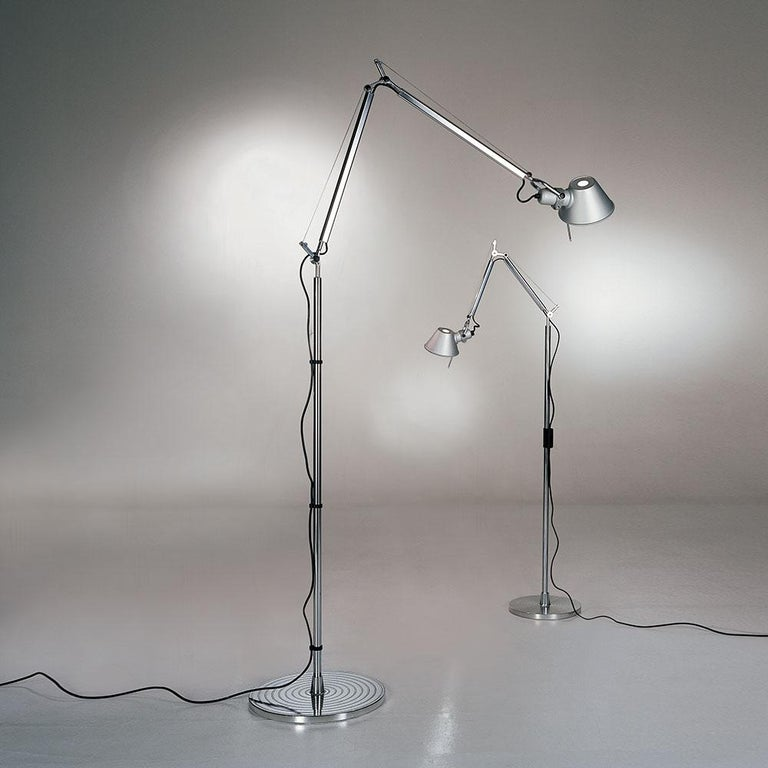 Italian Artemide Tolomeo Mini LED Floor Lamp in Aluminum For Sale