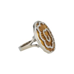 Victor Mayer Artemis Amber Enamel Ring 18k White Gold/Yellow Gold with Diamonds