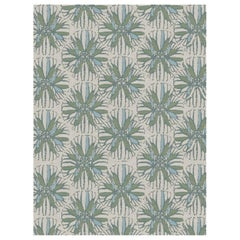 Artemis Custom Made Hand Knotted Natural Blue Green Wool Rug by Allegra Hicks