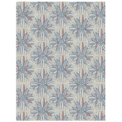 Artemis Custom Made Hand-Knotted Natural Coral Blue Wool Rug by Allegra Hicks