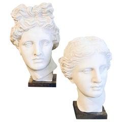Artemis Diana and Apollo Greek God Busts