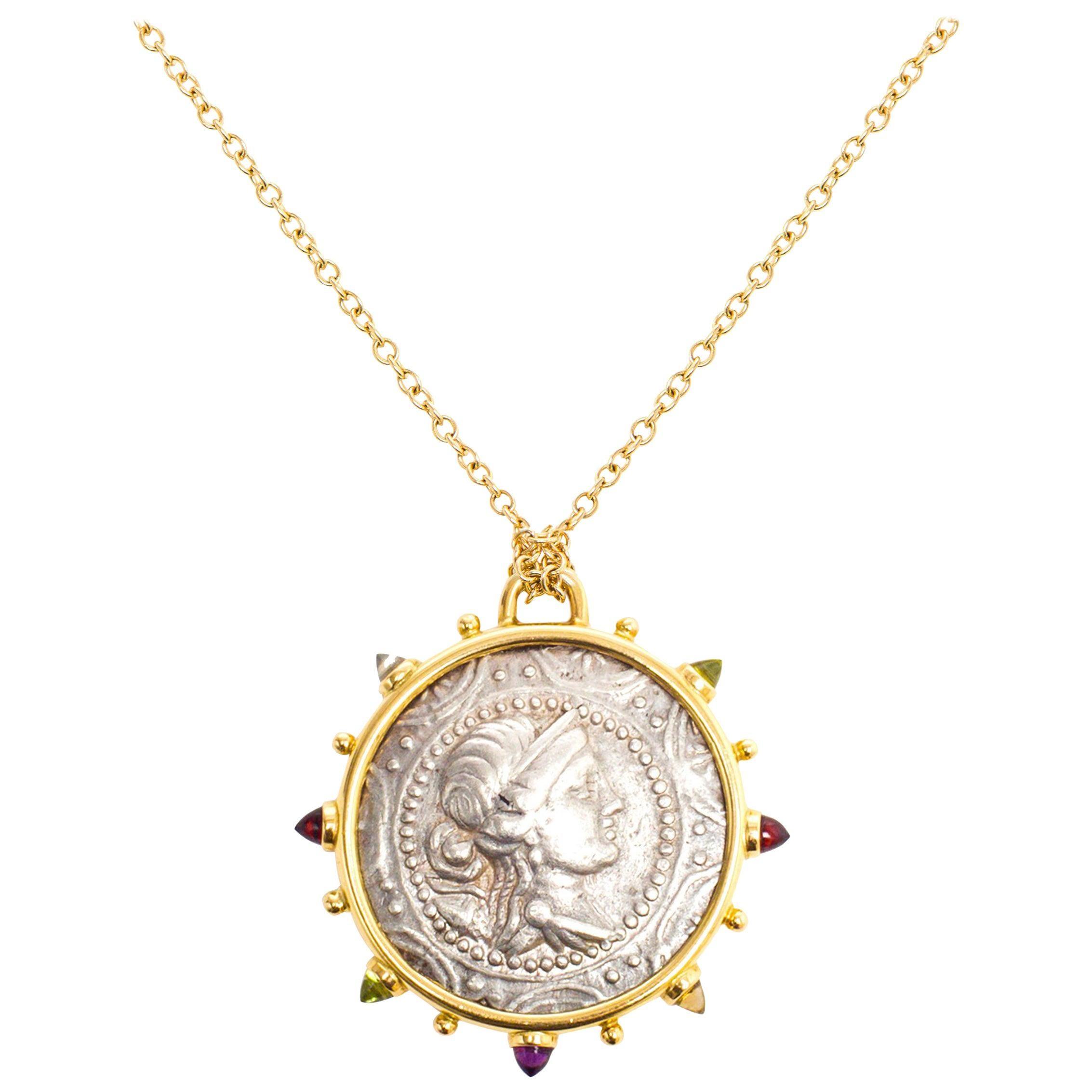 Artemis Macedon Ancient Silver Coin Medallion 18 Karat Yellow Gold Necklace
