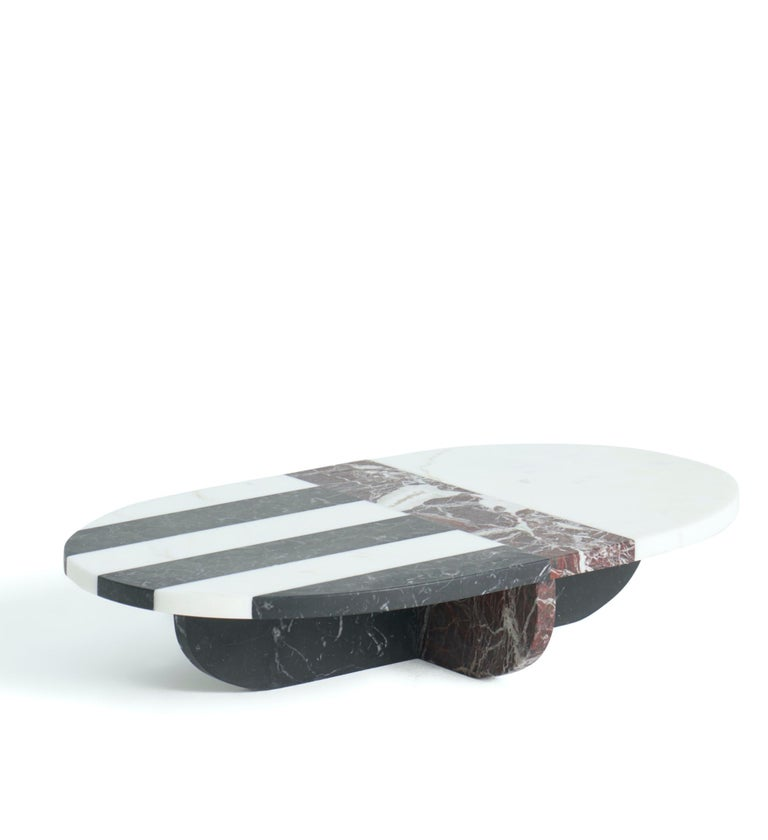 Artemisia marble centerpiece by Matteo Cibic Dimensions: 23.6 x 13.8 x 4.7 cm Materials: Bianco Michelangelo, Rosso Levanto, Nero Marquinia  Matteo Cibic is an Italian designer and creative director. He is known for his objects with hybrid