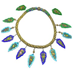 Artesian Set, Enameled Indian Leaf Necklace and Earrings