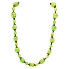 Artglass necklace Murano beads with gold flux, in bright green
