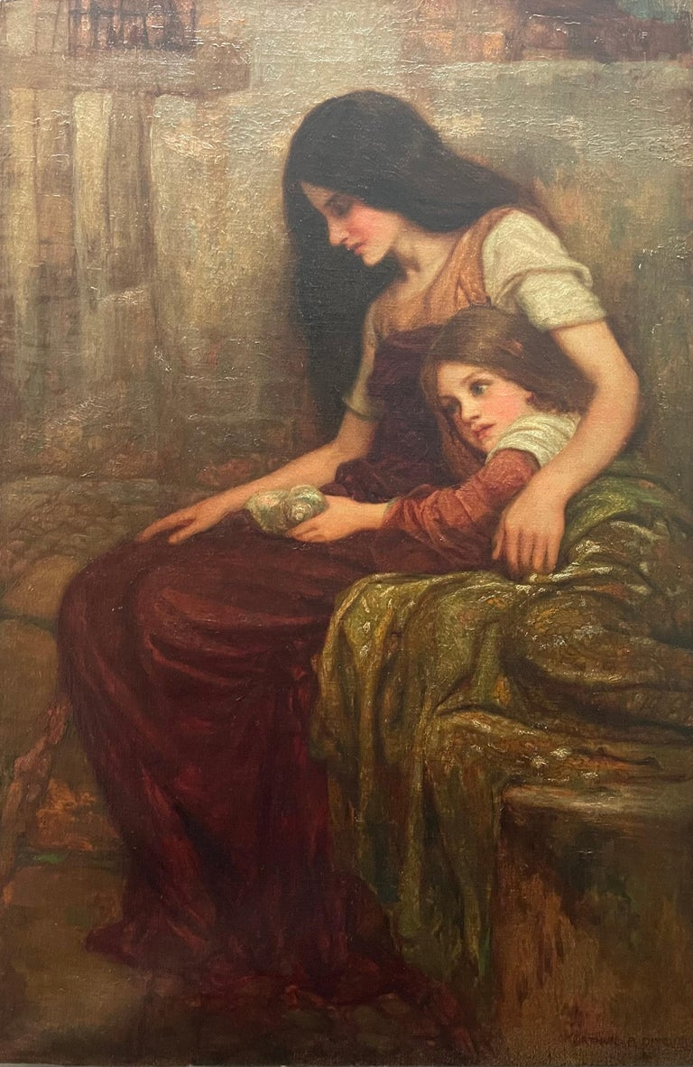 This tender painting is by Arthur Augustus Dixon, a great English artist who lived between the late 19th century and early 20th century. 