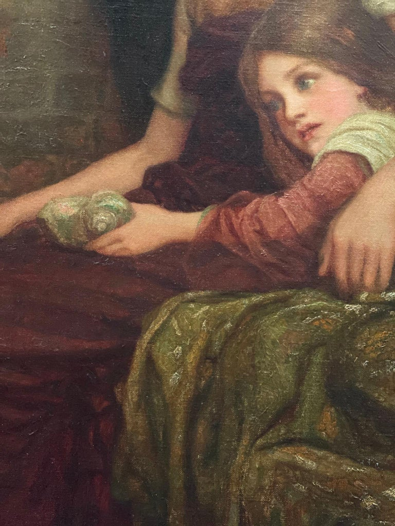 Pre-Raphaelite Arthur A. Dixon Signed Painting Mother and Child For Sale