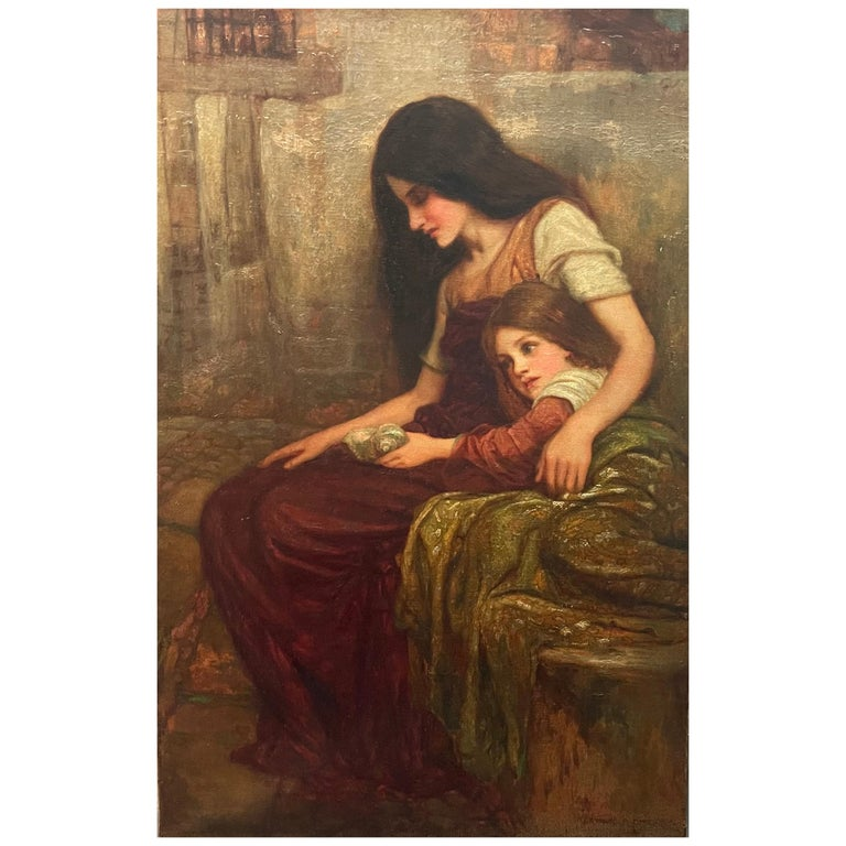 Arthur A. Dixon Signed Painting Mother and Child For Sale