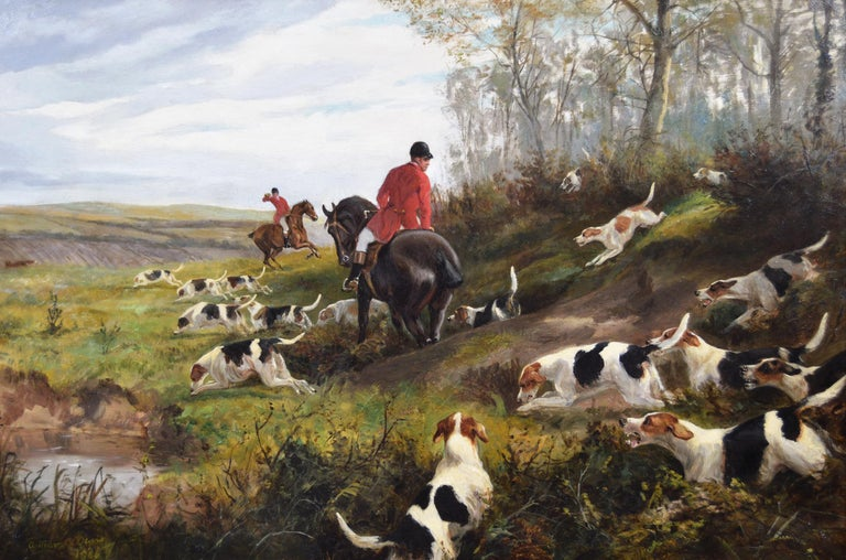 19th century sporting oil painting of dogs hunting - Painting by Arthur Alfred Davis