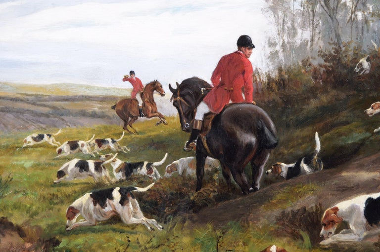 19th century sporting oil painting of dogs hunting - Victorian Painting by Arthur Alfred Davis