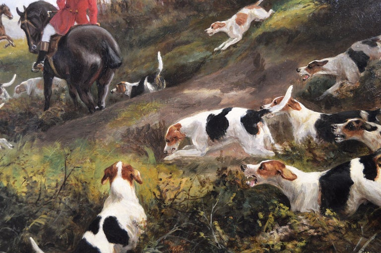 19th century sporting oil painting of dogs hunting - Brown Landscape Painting by Arthur Alfred Davis