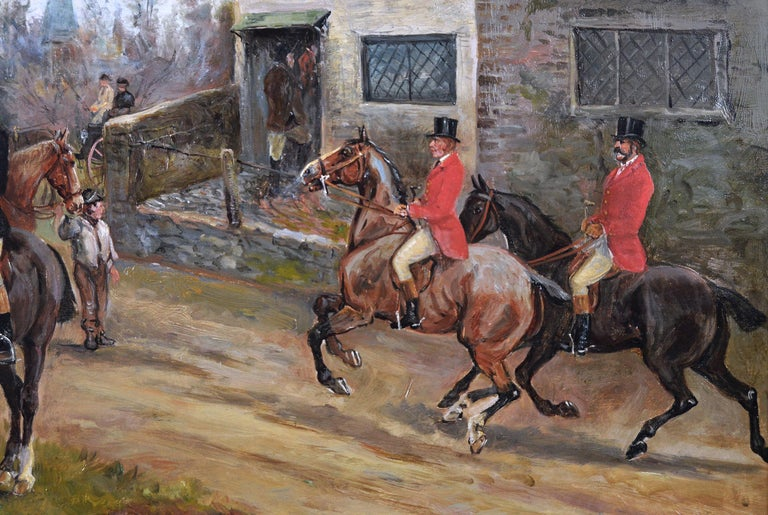 19th century sporting oil painting of dogs hunting - Brown Animal Painting by Arthur Alfred Davis
