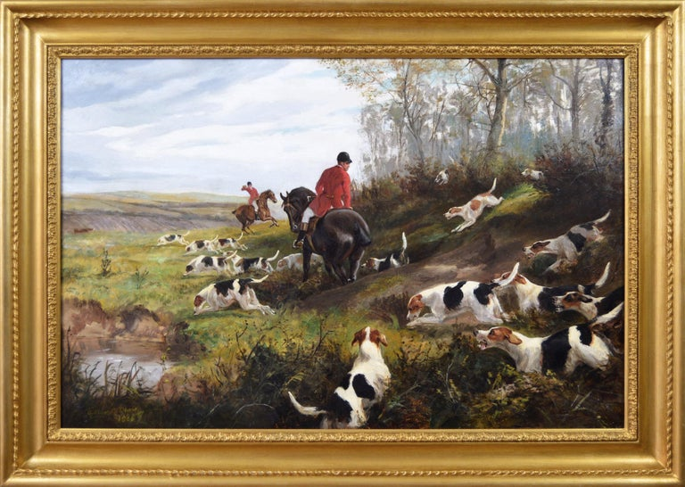 Arthur Alfred Davis Landscape Painting - 19th century sporting oil painting of dogs hunting
