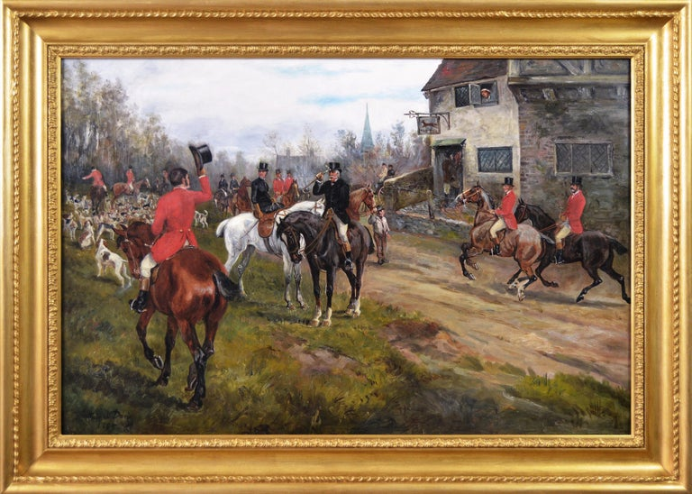 Arthur Alfred Davis Animal Painting - 19th century sporting oil painting of dogs hunting