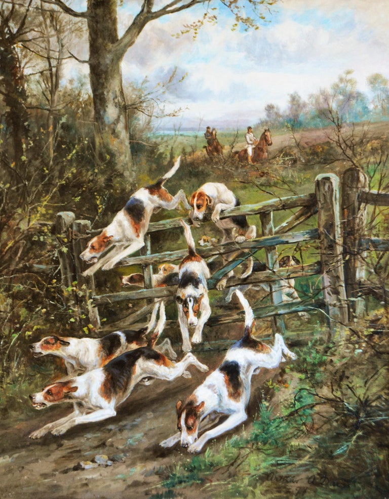 Large scale 19th century sporting oil painting of dogs hunting - Painting by Arthur Alfred Davis