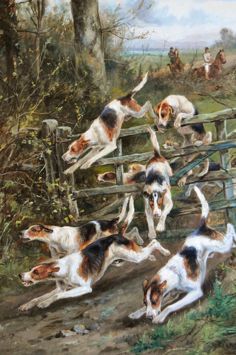 Large scale 19th century sporting oil painting of dogs hunting - Victorian Painting by Arthur Alfred Davis