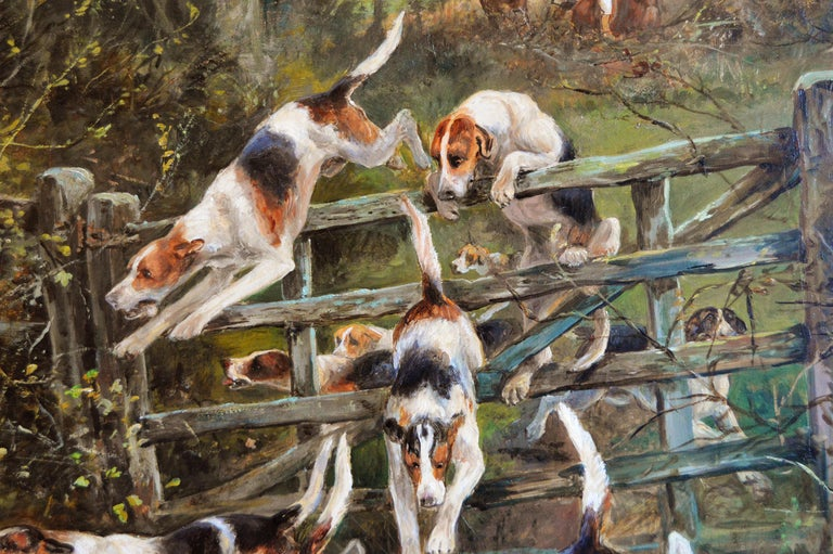 Large scale 19th century sporting oil painting of dogs hunting - Brown Landscape Painting by Arthur Alfred Davis