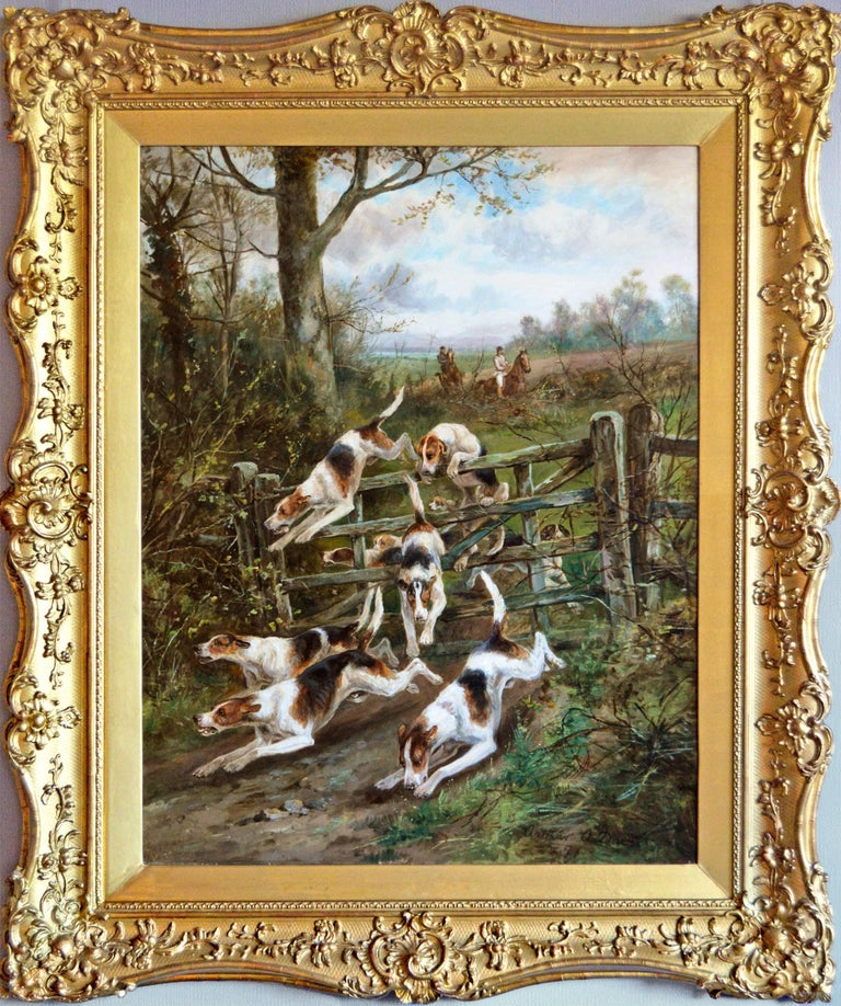 Arthur Alfred Davis Landscape Painting - Large scale 19th century sporting oil painting of dogs hunting