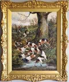 Large scale 19th century sporting oil painting of dogs hunting