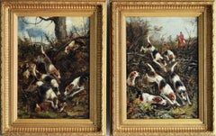 Pair of 19th Century hunting oil paintings