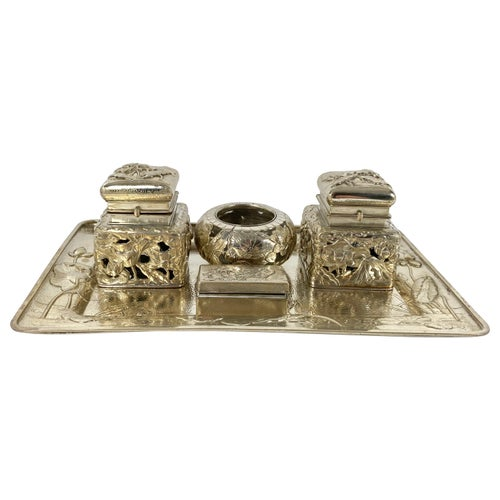 Arthur and Bond Japanese Silver Inkstand, circa 1900, Meiji Period