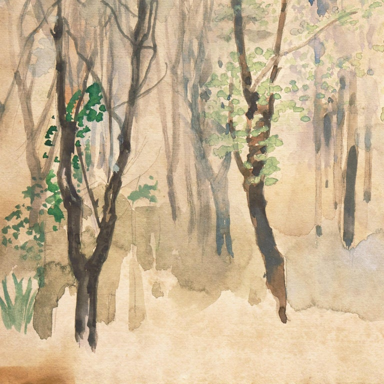 Silver Birches   (New York, Modernism, tonalist, framed, Ashcan, Armory Show) For Sale 5