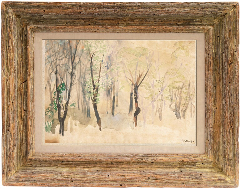 Silver Birches   (New York, Modernism, tonalist, framed, Ashcan, Armory Show) - Painting by Arthur B. Davies