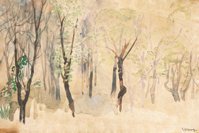 Arthur B. Davies Landscape Painting - Silver Birches   (New York, Modernism, tonalist, framed, Ashcan, Armory Show)