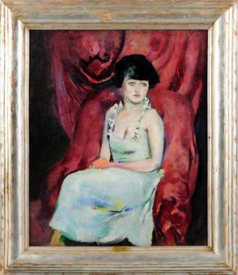 Portrait of a Charming Seated Woman Against Maroon Drapes - Painting by Arthur Beecher Carles