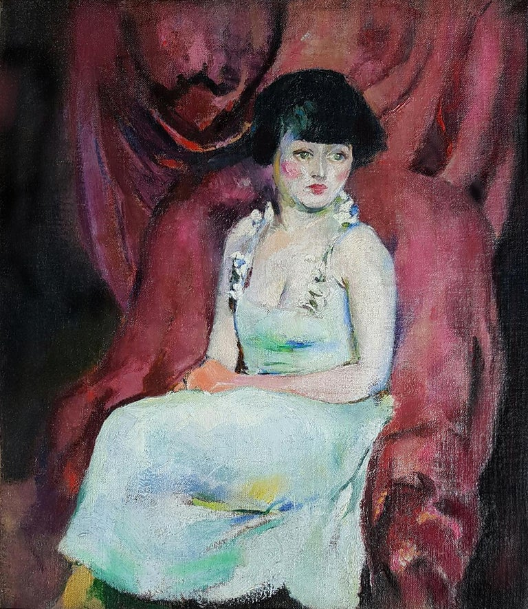 Arthur Beecher Carles Portrait Painting - Portrait of a Charming Seated Woman Against Maroon Drapes