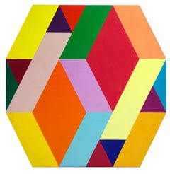 Diamonds, Large Geometric Painting by Arthur Boden c1970