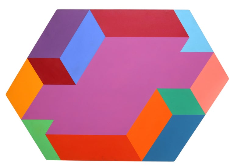 Artist: Arthur Boden, American XXth Title: Untitled (Hexagon) Year: 1975 Medium: Acrylic on Canvas, signed verso Size: 54 x 51.5 (104.14 cm x 152.4 cm)
