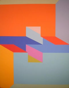 Sure Thing, Large OP Art Painting by Arthur Boden c1970