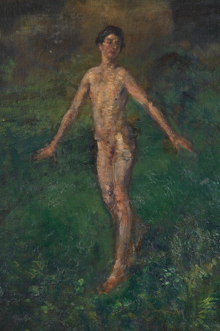 Boy Oil on Canvas - Beige Figurative Painting by Arthur Bowen Davies