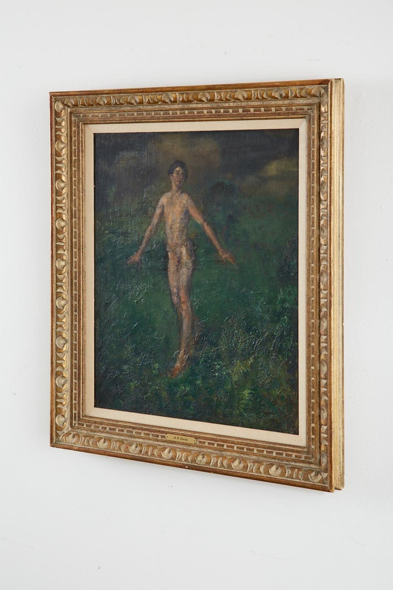 Exquisite oil on canvas painting by artist Arthur Bowen Davies (American 1862-1928). The work depicts a young nude man walking through a lush green, ethereal landscape. Thick earth-tone brush strokes are layered upon one another; This creates the