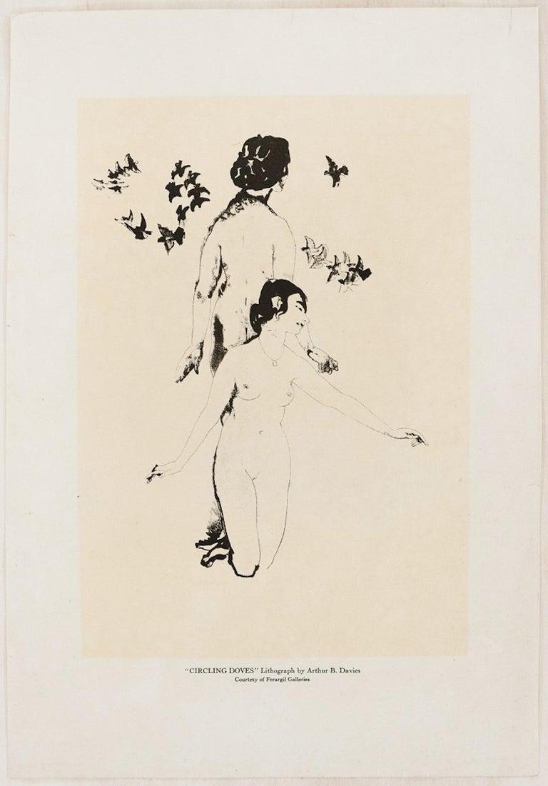 Circling Doves - Original Lithograph by A. Bowen Davies  - Print by Arthur Bowen Davies