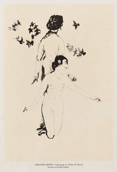 Circling Doves - Original Lithograph by A. Bowen Davies