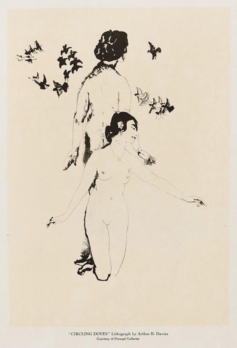 Arthur Bowen Davies Nude Print - Circling Doves - Original Lithograph by A. Bowen Davies