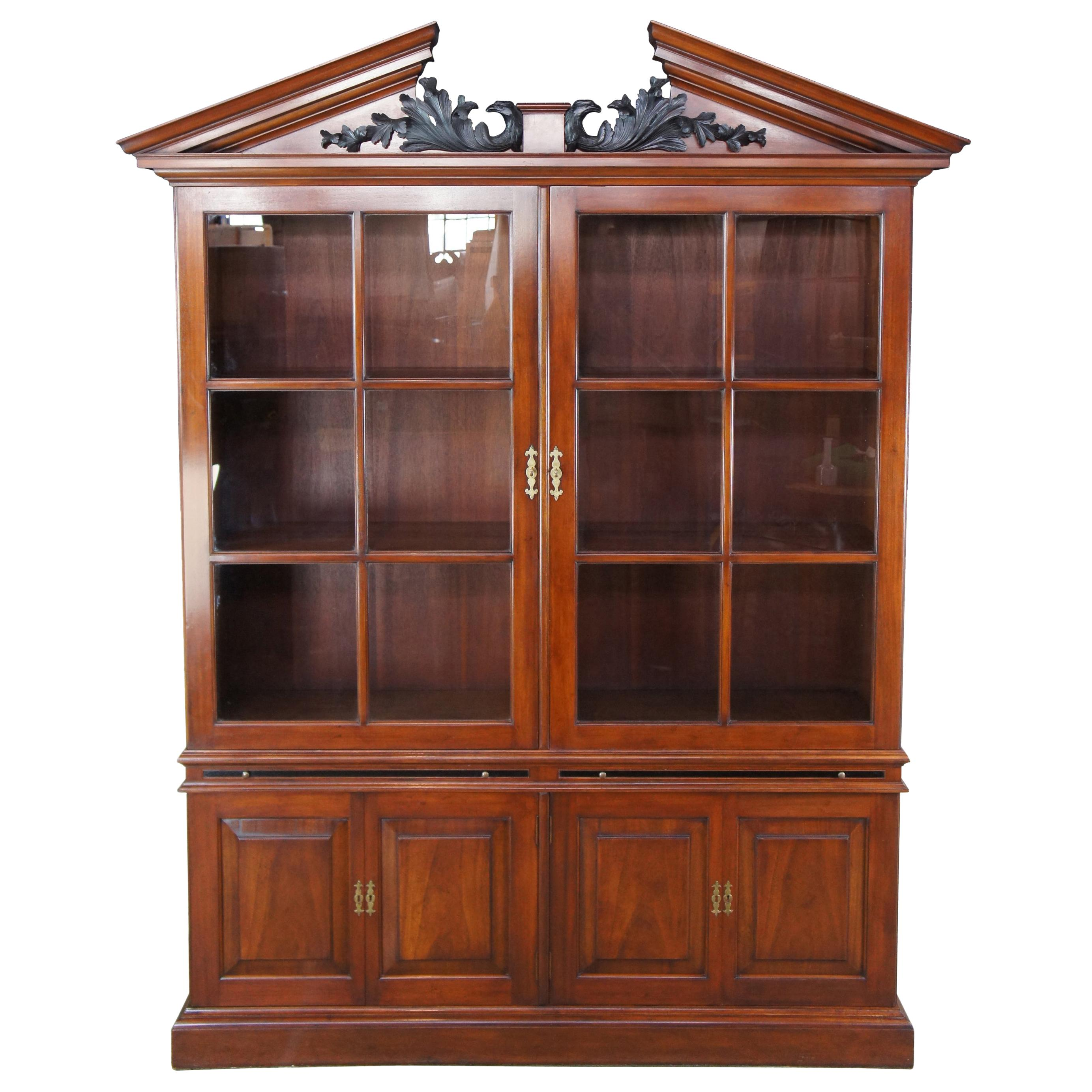 Arthur Brett George II Mahogany Library Bookcase China Cabinet Carved Eagles