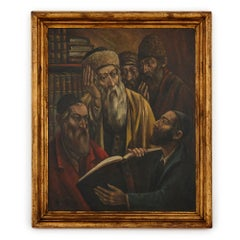 Polish oil painting of Jewish men studying by Arthur Bryks