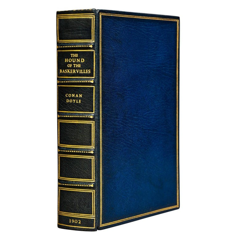 1 volume  Illustrated with 16 plates by Sidney Paget.   Bound in full blue Morocco by Bayntun, all edges gilt, raised bands, gilt panels, original front cover bound in the rear.  Published: London: George Newnes, 1902. First Edition $3,500.