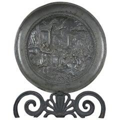 Arthur Chaumette Antique Pewter Charger Figural High Relief Athena Renaissance