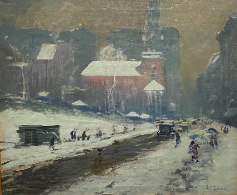 Boston Winter Scene - Painting by Arthur Clifton Goodwin