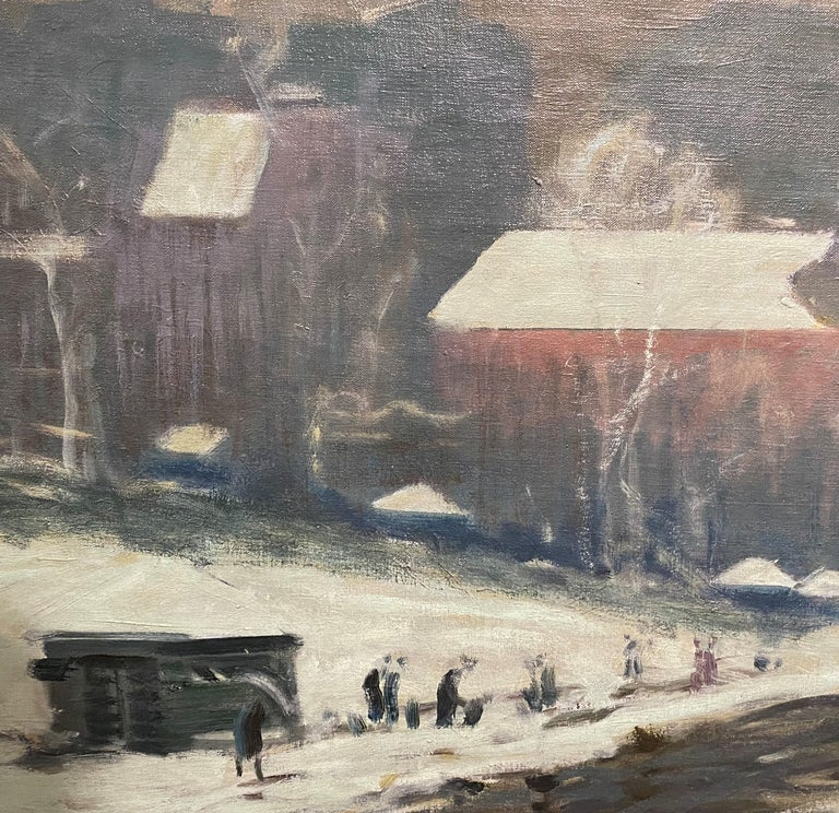 Boston Winter Scene - Brown Landscape Painting by Arthur Clifton Goodwin