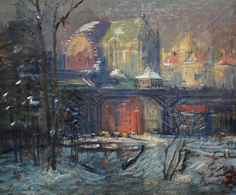 Cathedral Parkway, St. John the Divine - Painting by Arthur Clifton Goodwin